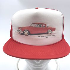 Vtg The Champion Deluxe Coupe 1955 Red White Snapback Trucker Hat Cap Adjustable #Otto #TruckerHat