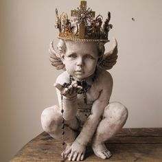 French cherub statue faux painted distressed Nordic cottage angel figure handmade ornate crown home decor anita spero design Angel Sculpture, Sculpture Art, Cherub Tattoo, Angel Art, Renaissance Art, Aesthetic Art, Art Inspo, Religion, Sketches