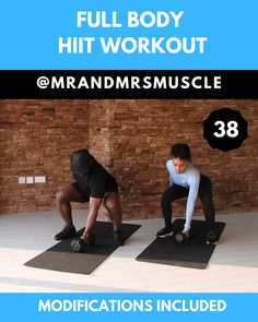 Full Body HIIT Workout - Pin, Share and Try this Full Body Workout with low impact modifications. Find the full workout on o - Sixpack Workout, Full Body Hiit Workout, Dumbbell Workout, Fat Burning Cardio Workout, Model Workout, Workout Abs, Workout Fitness, Fitness Studio Training, Pilates Training