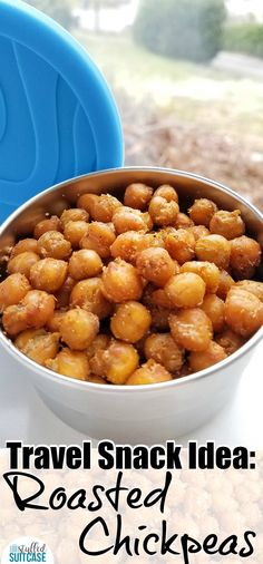 The best travel snack - roasted chickpeas! Protein snack with nutrients, great for road trip snacking & after school snacks!