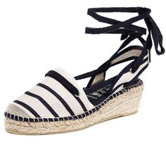 La Maison de L'Espadrille 546 Ecru/Marine ($85) ❤ liked on Polyvore featuring shoes, sandals, mid heel shoes, synthetic shoes, strappy sandals, wrap sandals and wrap around sandals