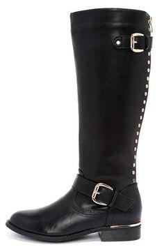 Studded Black Knee High Boots