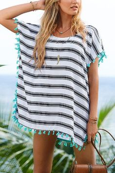 Stripe Beach Cover-up with Tassel Detail