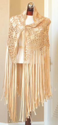 Vintage 1920s Silk Ribbon Shawl
