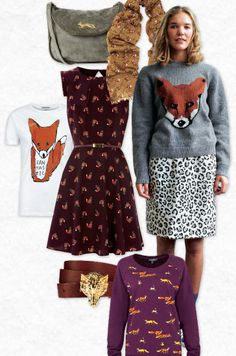 Foxy fashion.  I love the dress and scarf.