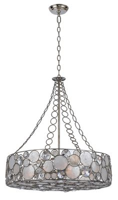 Crystorama Lighting Chandelier, large pendant Antique Silver finish pared with Clear crystal and Capiz shell accents in Antique Slive. Drum Pendant, Pendant Chandelier, Ceiling Pendant, Ceiling Lights, Silver Chandelier, Light Pendant, Drum Shade Chandelier, Coastal Chandelier, Chandelier Lighting