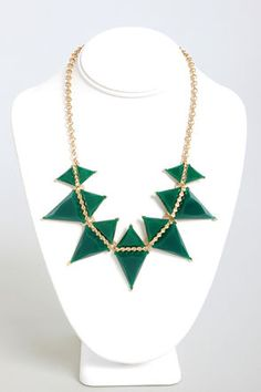 Point of No Return Green Triangle Necklace at Lulus.com