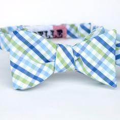 blue and green plaid mens bow tie. $36.00, via Etsy.