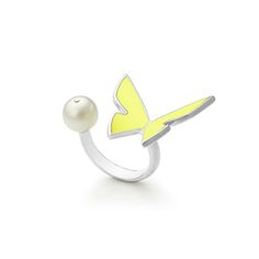 Citron papillon ring by Monquer. Les papillons collection 2015