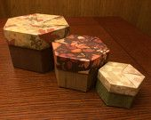 Set of 3 Nesting Autumn Origami Hexagon Boxes with Lids