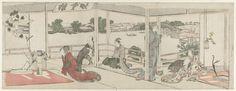 Katsushika Hokusai   Bewonderen van bloemstukken, Katsushika Hokusai, 1800 - 1805   Drie vrouwen, een jonge man en een oudere man in een kamer met bloemstukken. De staande vrouw en de twee mannen bevinden zich op de veranda, waarachter uitzicht op de rivier de Sumida.