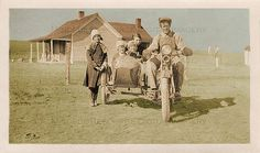 Motorbike Family Vintage Photo Sidecar Motorcycle 30s Depression Era Family Farm House Digital Download Vintage Motorcycles Tinted Snapshot