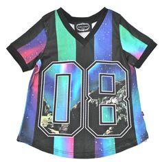 ZARA TEREZ sports jersey in blue astro colors. Soccer or football jerseys for tween girls 8-14 years