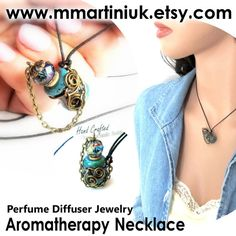 Long Aromatherapy Necklace Perfume Bottle Essential Oil Diffuser by mmartiniuk