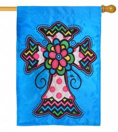Multi Colored Cross Double Applique House Flag
