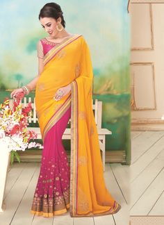 This season your look gets better definition with just a little attention to detail. Keep ahead in fashion with this hot pink and yellow georgette designer saree. The embroidered and patch border work...