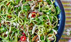 A super healthy sesame chicken salad recipe from the Hemsley sisters. Team gorgeous sesame chicken with spiralized cucumber noodles for a tasty low carb dish. Sesame Chicken Salad Recipe, Healthy Sesame Chicken, Clean Eating, Healthy Eating, Eating Well, Healthy Food, Clean Meals, Veggie Noodles, Carrot Noodles