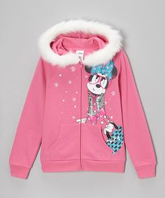 Take a look at this Pink Minnie Glitter Zip-Up Hoodie - Girls by Minnie's Bow-Tique on #zulily today!