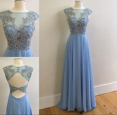 New Arrival Long Chiffon Prom Dresses with Illusion neck Beaded Bodice 2016 Prom Dresses