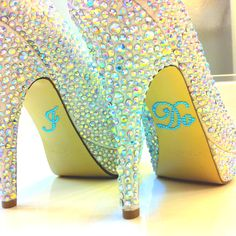 """Enzo Bling shoe from Zappos.com. """"I Do"""" blue bling sticker from Etsy.com"""