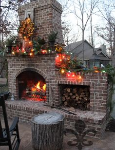 The summer outdoor kitchen is a nice addition to the garden. Here are 20 beautif. The summer outdoor kitchen is a nice addition to the garden. Here are 20 beautiful examples of DIY outdoor kitchen ideas. Outside Fireplace, Backyard Fireplace, Brick Fireplace, Backyard Patio, Backyard Landscaping, Fireplace Ideas, Fireplace Candles, Fireplace Kitchen, Fireplace Cover
