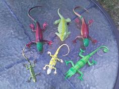 """Lizard Reptile Plastic Toy Figures 6"""" up to 9"""" Lot Of 6 #Unbranded"""
