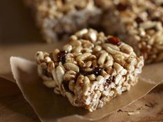 Kashi toffee krispies...made with carmelized tahini, I want to make these with protein powder and less sugar.
