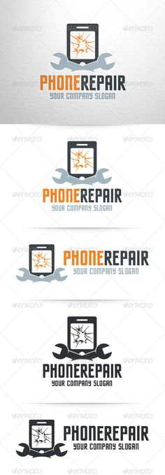 Phone Repair Service Logo — Photoshop PSD #PSD logo #smartphone • Available here → https://graphicriver.net/item/phone-repair-service-logo/7361854?ref=pxcr