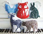 Woodblock Printed woodland animal pillows - could diy these