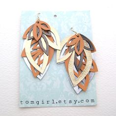 Peach and Gold Leather Earrings by tomgirl on Etsy, $58.00