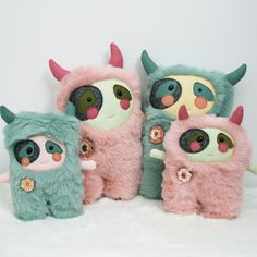 Collection of pastel monster plushies. Softies, Plushies, Monster Toys, Sock Monster, Toy Art, Kawaii, Fabric Toys, Sock Animals, Cute Monsters