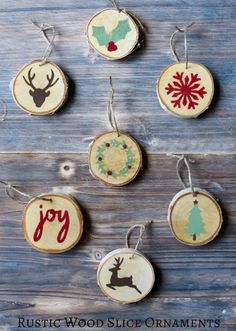 These rustic wood slice ornaments are unique and easy to make.  Try this inexpensive, yet stylish project for Christmas this year.