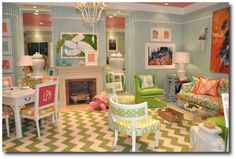 Mod Furniture, Palm Beach Style, Hollywood Regency, Lilly Pulitzer, Resort Style, Beach Style, Bright Interiors Decorating, Painted Furniture, White Decorating