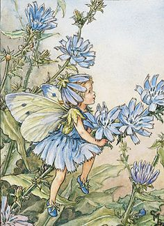 Ceramic Sensations. This sweet little fairy dressed all in blue matches the blue chicory flowers, as she rides away on a stem of delicate blossoms in her make believe world! Ceramic fairy art is not only beautiful but each piece has versatile use.