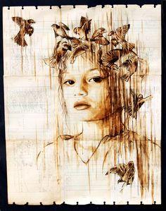 Les magnifiques portraits de l'artiste Michael Aaron Williams,réalisés avec du café et de l'encre sur des feuilles de papier issues de vieux registres des