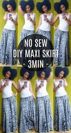 DIY Teen Fashion for Spring -No Sew DIY Maxi Skirt - Easy Homemade Clothing Tutorials and Things To Make To Wear - Cute Patterns and Projects for Teens to Make, T-Shirts, Skirts, Dresses, Shorts and Ideas for Jeans - Tops, Tanks and Tees With Free Tutorial Ideas and Instructions http://diyprojectsforteens.com/teen-fashion-spring #dressesmakingdiy
