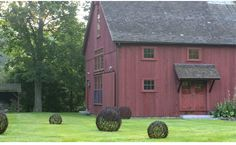 Love barn, color pallette and yard orbs!