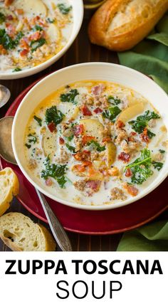 Zuppa Toscana - this is one of the tastiest most comforting soups! Easy to make and it has such a delicious flavor! #zuppatoscana #soup #recipe #cookingclassy via @cookingclassy Tuscana Soup Olive Garden, Olive Garden Zuppa Toscana, Tuscany Soup Olive Garden Recipe, Tuscany Chicken Soup, Tuscany Soup Recipe, Recipe For Zuppa Toscana Soup, Olive Garden Tuscan Soup, Crockpot Zuppa Toscana, Good Soup Recipes