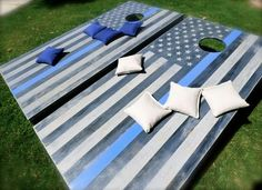 Thin Blue Line American Flags Bean Bag Toss Police Officer Wife, Police Wife Life, Police Officer Crafts, Police Gifts, Yard Games, Cornhole Boards, Thin Blue Lines, Blue Life, My Guy