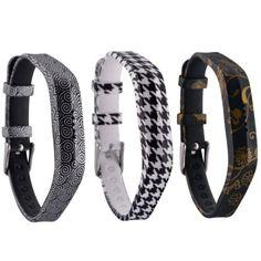 Black Designs Wristband Strap Band Bracelet Accessories for Fitbit Flex 2 for sale online Fitness Bracelet, Fitbit Flex, Belt, Bracelets, Leather, Accessories, Black, Bands, Chrome