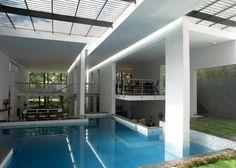 Tyagi's House by Ochre has skylit swimming pool