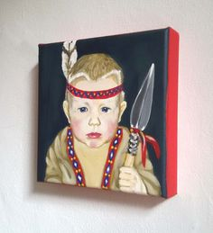 my little portrait* Acryl auf Leinwand 20x20x4cm Individuelle Seitengestaltung Porträtmalerei vom Foto Motto: Indianer Mottofreiwählbar