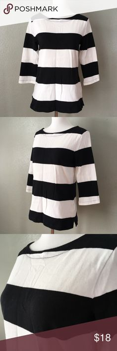 Old Navy 3/4 Sleeve Thick Striped Blouse Super cute and classic black and white Old Navy blouse with back zip, size small.  Item is in excellent condition with no known flaws! Please check out my other listings as I do offer a bundle discount, I love offers!  The measurements of my mannequin are: Bust: 32.5 inches Waist: 25 inches Hips: 34 inches Old Navy Tops Blouses