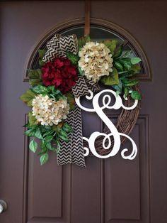 Monogram Year Round Wreath   Front Door Wreath  Monogrammed