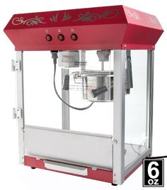 6oz Red Popcorn Maker Machine by Paramount - New Full Size 6 oz Popper 6oz Hot Oil Popcorn Machine. Easy to use and clean!. 6oz stainless steel rotational and detachable kettle. Low-noise built-in electric stirring system. Operates on 110/120 volt (standard outlet).  #Paramount #Kitchen