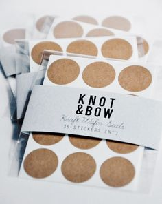144 Kraft Wafer Seal Stickers  FREE SHIPPING by knotandbow on Etsy, $12.00