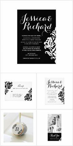 Black and White Damask Wedding Invitation Suite