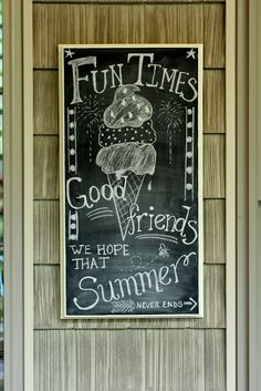 Less-Than-Perfect Life of Bliss: Summer Girl Party on the Porch: Big Budget Not . - Chalk Art İdeas in 2019 Summer Chalkboard Art, Chalkboard Art Quotes, Blackboard Art, Chalkboard Writing, Kitchen Chalkboard, Chalkboard Print, Chalkboard Drawings, Chalkboard Lettering, Chalkboard Designs