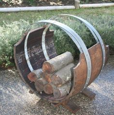 Wine Barrel Log Rack