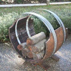 Wine Barrel Log Rack